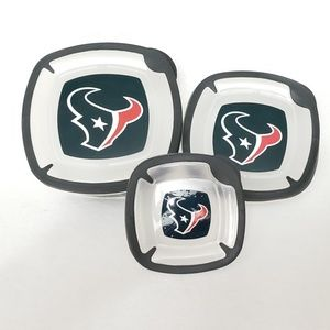 NFL Houston Texans 3PC Square Plastic Containers